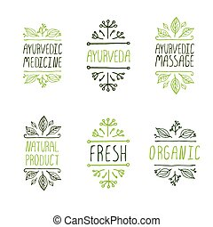 Hand-sketched typographic elements Ayurveda product labels -...