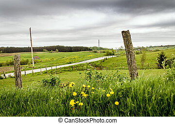 rural fields landscape St-Alban, Quebec Canada on a cloudy...
