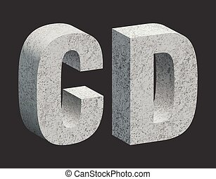 Concrete letters - Concrete 3D letters Vector illustration