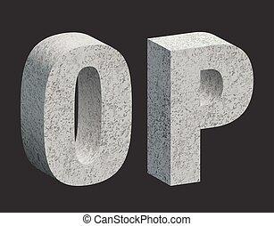 Concrete letters - Concrete 3D letters. Vector illustration.