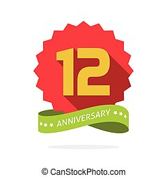 Anniversary 12 badge with shadow, starburst and yellow number twelve