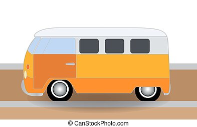 Cartoon cheerful minibus, which travels on the road. Vector Illu
