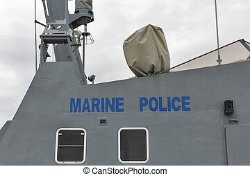 Marine police boat closeup