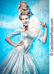 Ice Queen portrait - Portrait of a beautiful young lady in a...