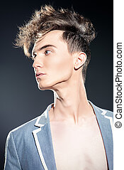 imposing updo - Male hairstyle concept. Fashionable young...