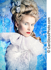 magic winter forest - Fairy Ice Queen in elegant silver and...