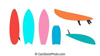 Set of windsurfing boards. Vector Illustration.