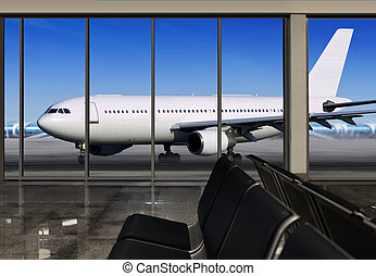 window in airport - passenger plane expects tourists at...