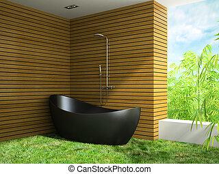 Interior bathroom with grass floor 3D rendering
