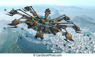 Rio De Janeiro UFO Invasion - 3D Rendering of spider-shaped...