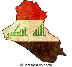 iraq map - some old vintage map with flag of iraq