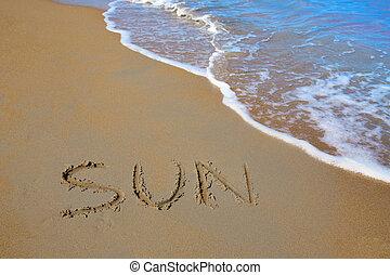 feitiço, sol, trabalho, escrito, Areia, praia