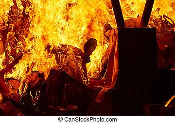 Fallas popular fest burning cartoon figures - Fallas popular...