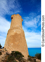Denia Las Rotas tower del Gerro in Mediterranean sea of...