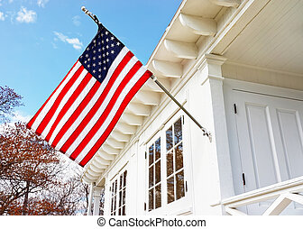 American flag on Sandy Hook Light house museum. It is the...