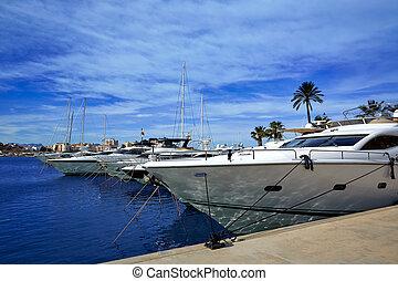 Denia port Marina in Mediterranean Spain