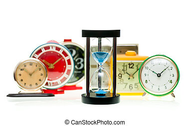 Hourglass and alarm clocks - Sand timer with vintage...