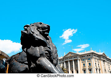 Barcelona, Spain - Closeup of a lion in the base of Columbus...