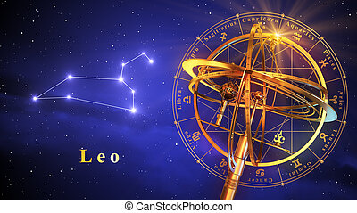 Armillary Sphere And Constellation Leo Over Blue Background...