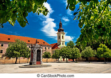 Town of Karlovac square architecture and nature, central...