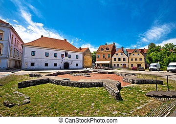 Historic town of Karlovac square view, central Croatia