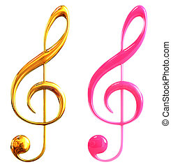 musical notes - 3d rendered creative image of musical notes.