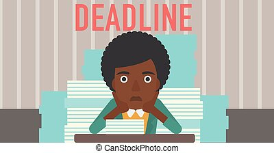 Woman having problem with deadline - A stressed...