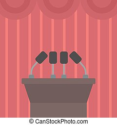 Background of tribune speech with microphones. - Background...