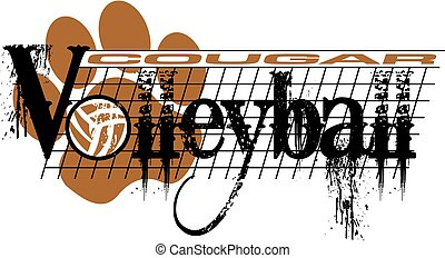 cougar volleyball - distressed cougar volleyball team design...