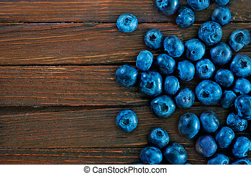 blueberry - fresh blueberry on wooden board, fresh berries