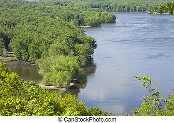 Mississippi River in Iowa during Spring - High angle view of...