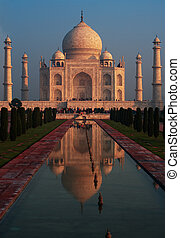 Taj Mahal Sunrise Fountain Reflection - The iconic Taj Mahal...