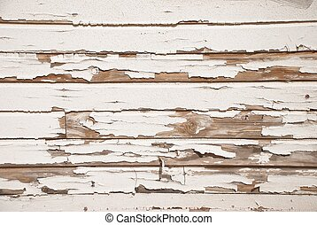 Old Wood Wall With Cracked White Paint - A very old wooden...