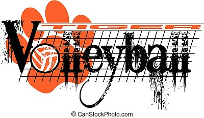 tiger volleyball - distressed tiger volleyball team design...