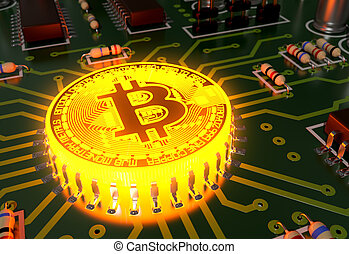 Concept Of Bitcoin Like A Incandescent Processor On...