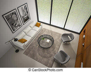 Interior of the room with wooden panel wall 3D rendering 4
