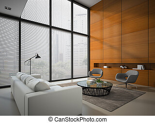 Interior of the room with wooden panel wall 3D rendering