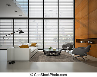 Interior of the room with wooden panel wall 3D rendering 2