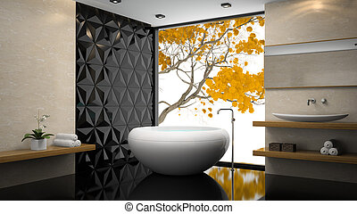 Interior of  stylish bathroom with orchid 3D rendering
