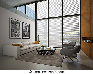 Interior of the room with wooden panel wall 3D rendering 3