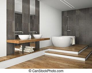 Interior of  bathroom with wooden floor 3D rendering