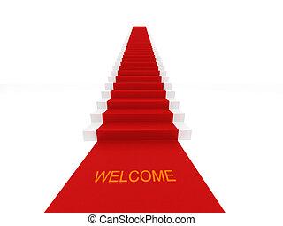 rojo, alfombra, Escaleras