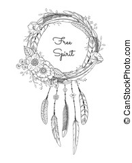 Dreamcatcher with feathers and flowers. Boho style. Hand...