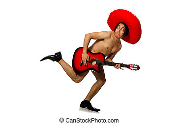 Nude man with sombrero playing guitar on white
