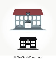 police station isolate icon ,on white background Vector...