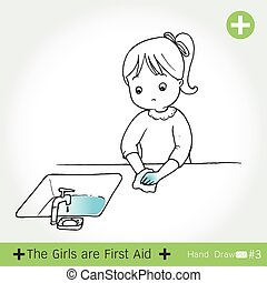 First aid - first aid for bleeding ,on white background...