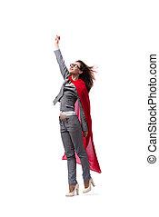 joven, superwoman, aislado, en, blanco,