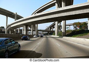 LA Interchange - Los Angeles freeway interchange with...