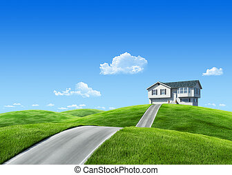 7000px nature collection - House on green meadow -...