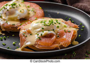Eggs benedict with salmon - Eggs benedict and smoked salmon...